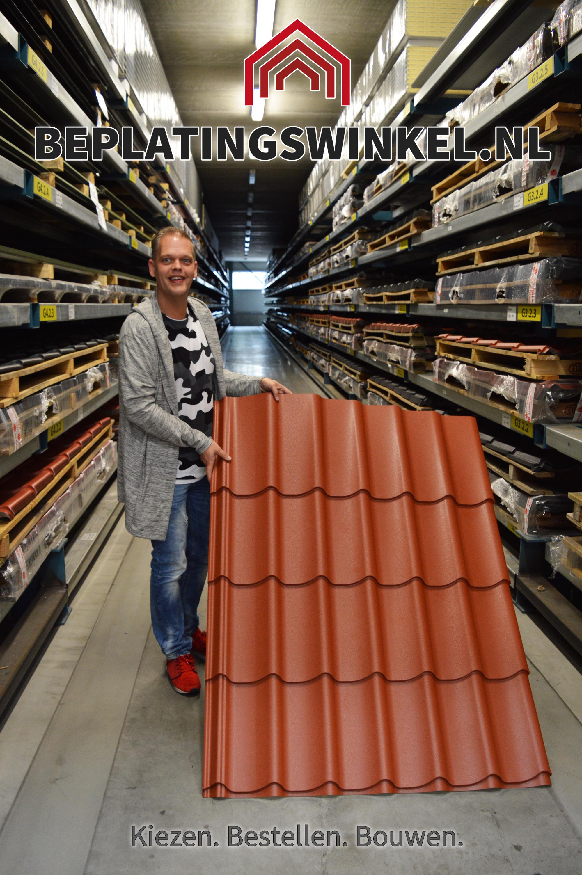 Stalen dakpanplaten donker terra wrinkle 24/1100