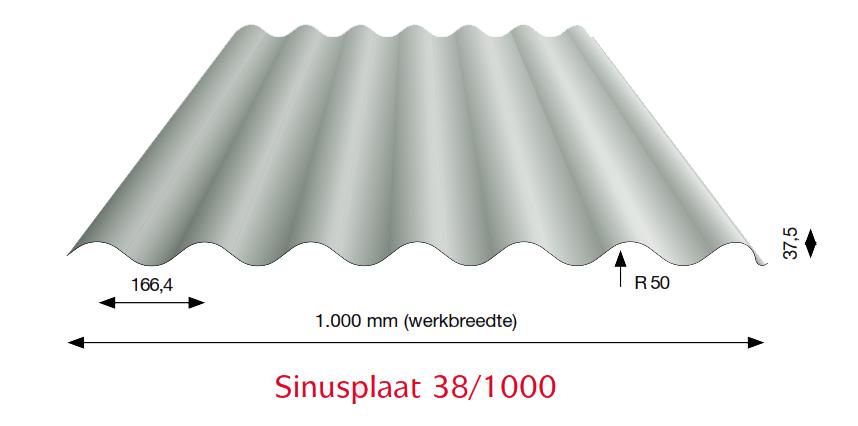 Stalen golfplaten type 38/1000 antraciet wrinkle