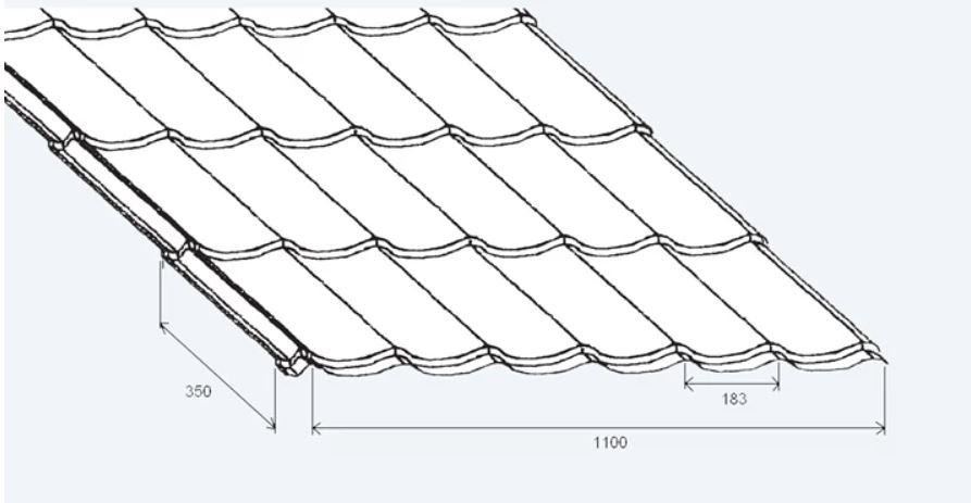 Stalen dakpanplaten zwart wrinkle 24/1100