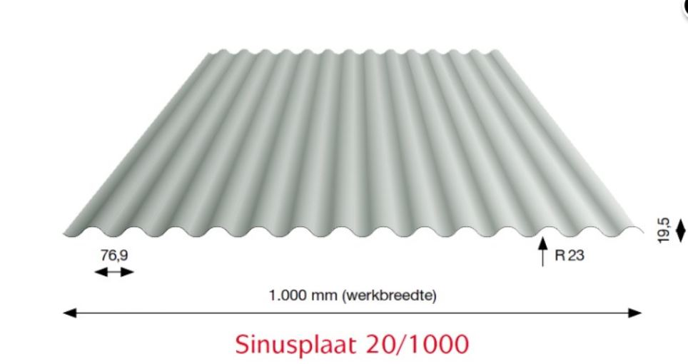 Golfplaat 20-1000 metalic